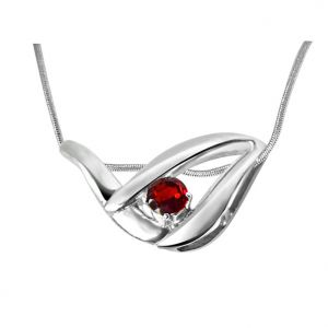 Surat Diamond Glitter Years Garnet & Sterling Silver Pendant With 18 In Chain Sdp329