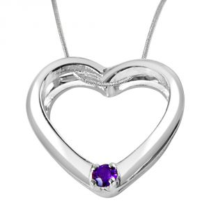 "Surat Diamond You""re Still The One Amethyst & Sterling Silver Pendant With 18 In Chain Sdp331"