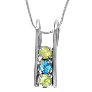 Surat Diamond Peridot And Blue Topaz Silver Pendant With 18 Inch Chain