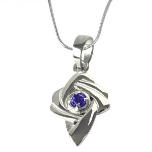 Surat Diamond Amethyst Set In Sterling Silver Pendant With 18 Inch Chain