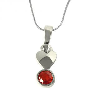 Surat Diamond Garnet Pendant Set In Sterling Silver With 18 Inch Chain