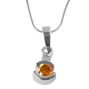 Surat Diamond Round Shaped Yellow Topaz & Real Diamond Sterling Silver Pendant With 18 Inch Chain