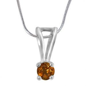 Surat Diamond Beauty Queen - Yellow Citrin & Silver Pendant With 18inch Chain- Sdp381-2