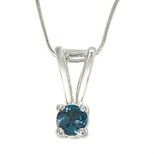 Surat Diamonds Precious Jewellery - Surat Diamond Beyond the Sea Blue Topaz & Sterling Silver Pendant with 18 IN Chain SDP384