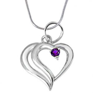 kalazone,jpearls,surat diamonds Silvery Jewellery - Surat Diamond In PAIR-adise Heart Shaped Purple Amethyst & 925 Sterling Silver Pendant with 18 IN Chain SDP386