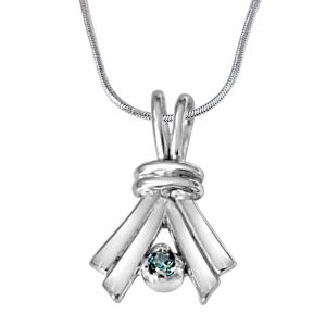 Surat Diamond Make A Promise Trendy Blue Topaz & 925 Sterling Silver Pendant With 18 In Chain Sdp387
