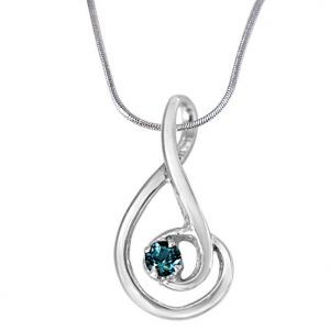 Surat Diamond Forever Young Elegantly Designed Blue Topaz & 925 Sterling Silver Pendant With 18 In Chain Sdp388