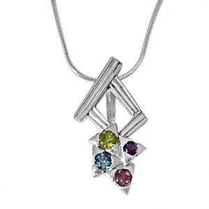 Surat Diamond Dancing Feet Amethyst, Topaz, Peridot, Rhodolite & 925 Sterling Silver Pendant With 18 In Chain Sdp391