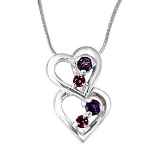 rcpc,kalazone,jpearls,surat diamonds,port Silvery Jewellery - Surat Diamond YOU & ME.. Happy Together Amethyst, Rhodolite & 925 Sterling Silver Pendant with 18 IN Chain SDP392