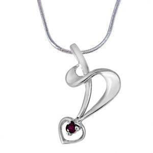 Triveni,Pick Pocket,Jpearls,Surat Diamonds,Arpera Women's Clothing - Surat Diamond Peaceful Feelings Pink Rhodolite & 925 Sterling Silver Pendant with 18 IN Chain SDP395