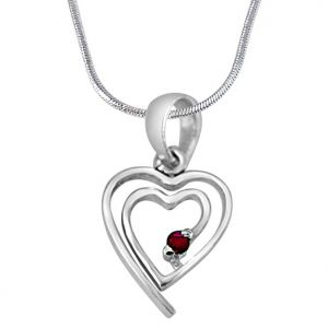 Surat Diamonds Precious Jewellery - Surat Diamond My Heart is in Your Heart Real Red Ruby & 925 Sterling Silver Pendant with 18 IN Chain SDP397