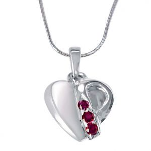 Surat Diamond Music Of The Heart Pink Rhodolite & 925 Sterling Silver Pendant With 18 In Chain Sdp399