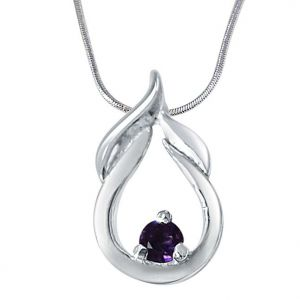 Surat Diamond Motel Moments Amethyst & 925 Sterling Silver Pendant With 18 In Chain Sdp403