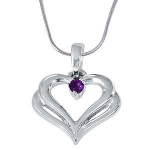 "Surat Diamond Two Heart""s Become One Amethyst & 925 Sterling Silver Pendant With 18 In Chain Sdp404"