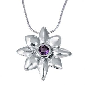 Surat Diamonds,Asmi Precious Jewellery - Surat Diamond Crazy Daisies Floral Purple Amethyst & 925 Sterling Silver Pendant with 18 IN Chain SDP407