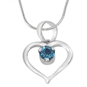 rcpc,ivy,soie,surat diamonds,port Silvery Jewellery - Surat Diamond Prince of My Life Heart Shaped Blue Topaz & 925 Sterling Silver Pendant with 18 IN Chain SDP409