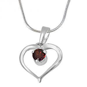 Surat Diamonds Silver Pendant Sets - Surat Diamond Memories of My Life Garnet & Silver Pendant with 18IN Chain SDP410