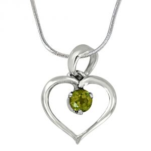Surat Diamond Princess Of My World Heart Shaped Green Peridot & 925 Sterling Silver Pendant With 18 In Chain Sdp411