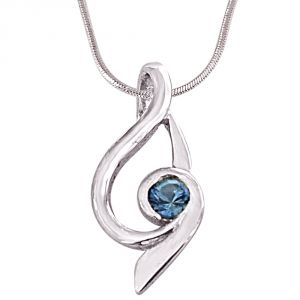 Surat Diamond Trendy Blue Topaz & Sterling Silver Pendant With 18inch Chain- Sdp414-2
