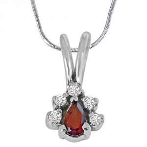 Surat Diamond Trendy Red Pear Garnet, White Topaz And 925 Sterling Silver Pendant With 18 In Chain Sdp415