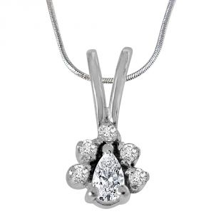 Surat Diamond Trendy White Topaz & Silver Pendant With Silver 18inch Chain- Sdp416-2