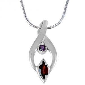 Surat Diamond Trendy Marquise Shaped Red Garnet, Round Purple Amethyst And 925 Sterling Silver Pendant With 18 In Chain Sdp418
