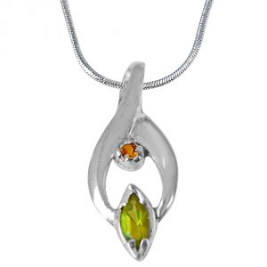 Surat Diamond Trendy Marquise Shaped Green Peridot, Round Citrine And 925 Sterling Silver Pendant With 18 In Chain Sdp419