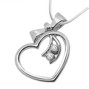 Surat Diamond - Gift Of A Heart Sterling Silver Pendant -sdp42