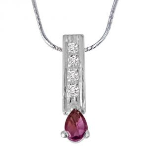 Surat Diamond Trendy Pear Shaped Pink Tourmaline, Round White Topaz And 925 Sterling Silver Pendant With 18 In Chain Sdp421