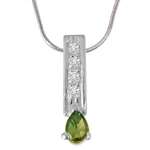 Surat Diamond Trendy Pear Shaped Green Tourmaline, Round White Topaz And 925 Sterling Silver Pendant With 18 In Chain Sdp422