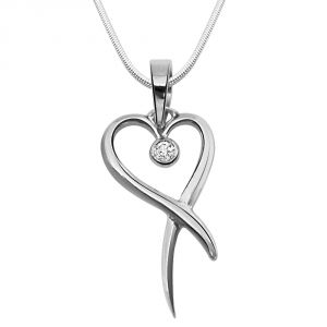 Surat Diamond - Holder Of Love Sterling Silver Pendant -sdp43