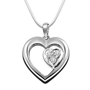 Surat Diamond Symbol Of Love - Real Diamond & Silver Pendant With 18 Inch Chain- Sdp51-2