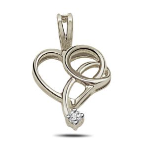 Silver Pendant Sets - Surat Diamond - Drop of Love Sterling Silver Pendant -SDP78