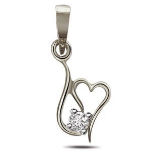 Surat Diamond - Twisted Heart Sterling Silver Pendant -sdp80