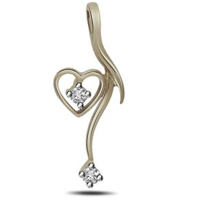 Surat Diamond - Dangling Heart Sterling Silver Pendant -sdp81