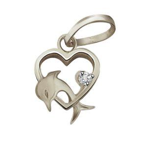 Surat Diamonds Silver Pendant Sets - Surat Diamond - Dolphin Heart  Sterling Silver Pendant -SDP88