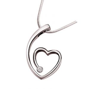 "Surat Diamond - Nature""s Heart Sterling Silver Pendant -sdp89"