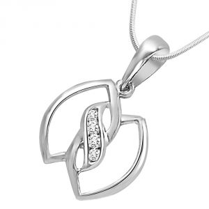 Surat Diamond - Leaves Of Togetherness Sterling Silver Pendant -sdp97