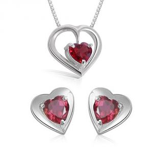 Surat Diamond Heart Shaped Garnet Earring & Pendant With Silver Finished Chain Sds115
