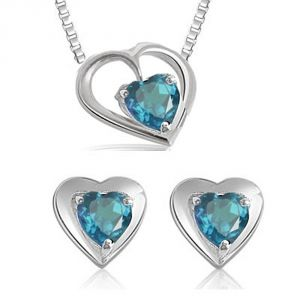 jagdamba,surat diamonds,valentine,jharjhar,asmi,oviya Gemstone Pendants - Surat Diamond Heart Shaped Blue Topaz Earring & Pendnat with Silver finished Chain SDS116
