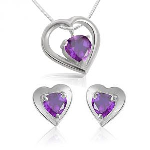 jagdamba,surat diamonds,valentine,jharjhar,asmi,tng Gemstone Pendants - Surat Diamond Heart Shaped Amethyst  Earring & Pendnat with Silver finished Chain SDS117