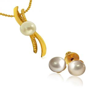 Gemstone Pendants - Surat Diamond Real Pearl Set with Chain SDS147