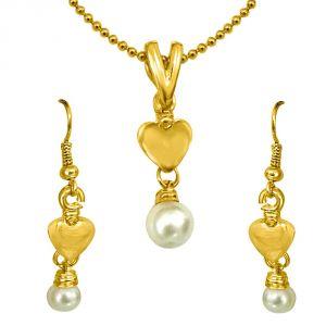 Surat Diamonds Fashion, Imitation Jewellery - Surat Diamond Heart Shaped Shell Pearl & Gold Plated Pendant & Earring Set with Chain SDS149