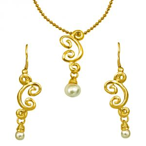 Surat Diamonds Necklace Sets (Imitation) - Surat Diamond Trendy Shell Pearl & Gold Plated Pendant & Earring Set with Chain SDS150
