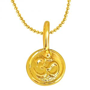 Triveni,Pick Pocket,Jpearls,Surat Diamonds Spiritual Pendants - Surat Diamond Om Shaped Gold Plated Sterling Silver Pendant With Gold Plated Chain For All