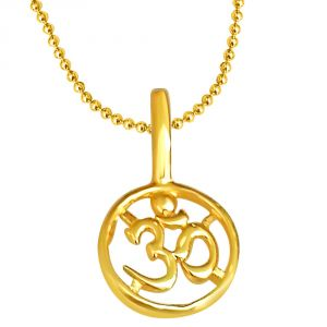 Triveni,My Pac,Clovia,Jharjhar,Surat Diamonds,Mahi Spiritual Pendants - Surat Diamond Om Shaped Gold Plated Pendant In Sterling Silver With Gold Plated 22 Chain