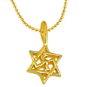 Spiritual Pendants - Surat Diamond Swastik Shaped Gold Plated Sterling Silver Pendant With Gold Plated Chain