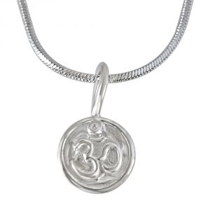 Surat Diamonds Pendants (Imitation) - Surat Diamond OM Pendant in Silver with Silver Finished Chain for Children SDS200