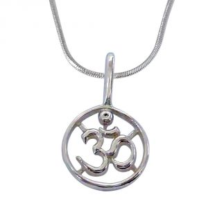 Surat Diamond Religious Om Pendant In Silver With Chain For Children- Sds201-2