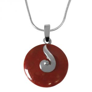 "Surat Diamond Round 18mm Disc Shaped Brown Jasper & Sterling Silver Pendant With Silver Finished Chain 18"" Sds228"